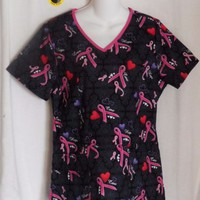 Scrubstar Top Size Small Scrubs Pink Ribbon  Print