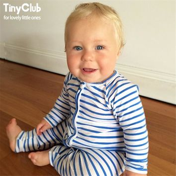 Infant Jumpsuit Long Sleeves Navy Blue Romper Baby Boy Girl Clothes Tiny Cottons New Born Toddler Onesuit Overall Outfits Pajamas