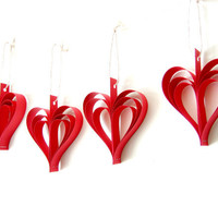 Red Paper Heart Garland - Wedding Decoration, red heart bunting, shabby chic garland, romantic heart ornaments