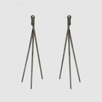 Repossi 1 Pair Planches Earrings (Black Gold/Diamonds)