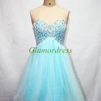 sexy Sweetheart blue Prom Dresses Manual nail bead Cocktail Dresses affordable Homecoming Dresses
