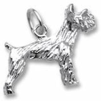 Schnauzer Dog Charm In Sterling Silver