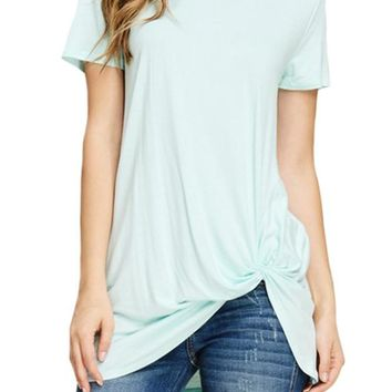 Short Sleeve Front Knot Top