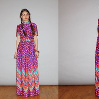 1960s Vintage Rainbow Floral Psychedelic Mod Maxi Dress – Vanguard Vintage Clothing
