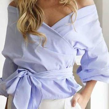 Off Shoulder Sexy Lace Up Bow Top