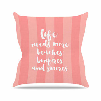 "Sylvia Cook ""Beaches & Bonfires - Coral"" Pink Typography Throw Pillow"