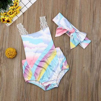 US Toddlers Baby Girls Kids Lace Rainbow Romper Bodysuit Headband Outfit Clothes