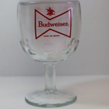 BUDWEISER GLASS GOBLET, Vintage barware, Vintage Anheuser Busch Thumbprint Glass, beer goblet, beer advertising glass, gift for dad