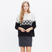 CONTRAST FAIR ISLE PULLOVER SWEATER
