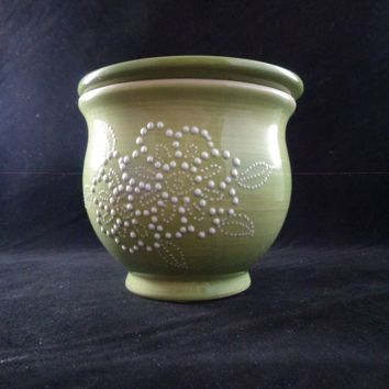 Green African Violet Bowl With White Embossed Flower