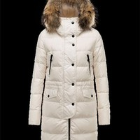 Moncler FRAGON Basic Fur Hood Ivory Jackets Pa/Racoon Womens 41311175WM