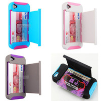 Kickstand Hard and Soft Double Layer with Card location Case for Iphone 4/4s/5