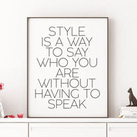 Typography Home Decor Keep Your Heels Head and Standards High Fashion Print Fashion Quote Motivational Art  Home decor Printable GIft Women