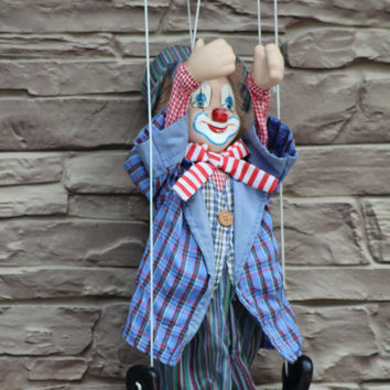 Clown Doll, Clown Figurine, Circus Clown, String Puppet, marionette