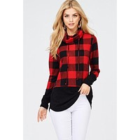Cowl Neck Buffalo Plaid Top - Red