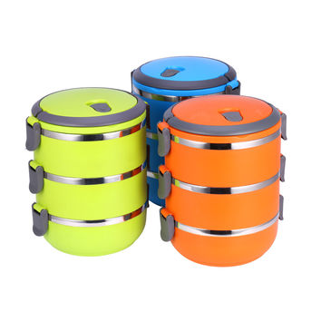 1Pcs Durable Round Shape Portable Food Container Thermal  Lunch Box  Bento Food Picnic Container