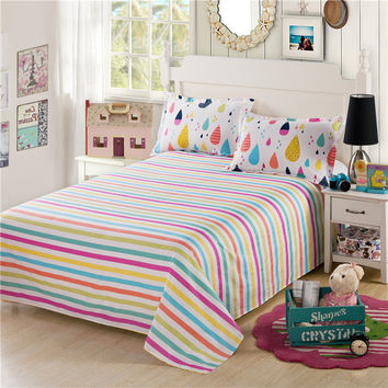 White red yellow blue green stripe bed set