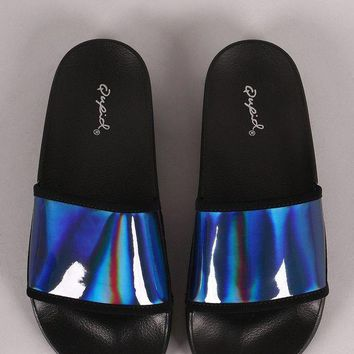 DCK7YE Qupid Iridescent Open Toe Slide Sandal