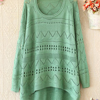 A 081903 s Loose round neck long-sleeved sweater hollow26