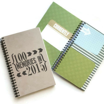 100 Memories in 2015, mixed media journal, scrapbook journal, memory book, diary, cardstock smash book, smash book, wire bound kraft, white