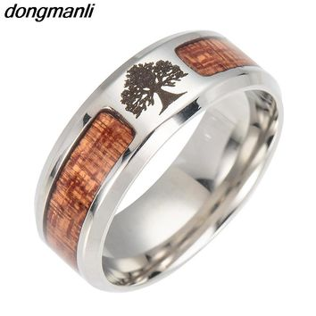 P1034 Dongmanli Nordic Vikings Runes Amulet Tree of Life Yggdrasil Stainless steel jewelry mosaic wood Semi-circle Ring