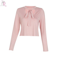 2 Colors Cut Out Tied Neck Long Sleeve Crop Top T-shirt Slim Casual Sexy Tee Streetwear 2016 Summer Women Pink Black
