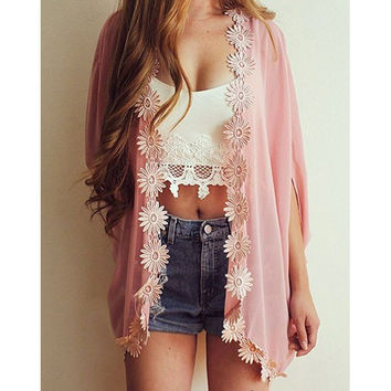 Lace flower chiffon cardigan