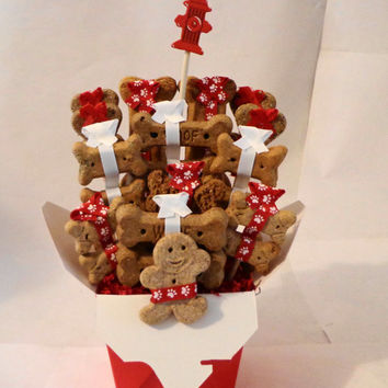 SALE 5 dollars off - Dog biscuit treat basket, unique gift, red, white, paw print, custom, personalized, birthday