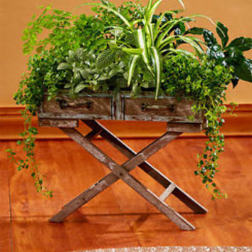 Wooden Rustic Tray Stand Planter W/ Metal Drawer Pulls Flower Plant Stand Home