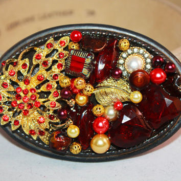 Red and Gold Belt Buckle - Fall Accessories