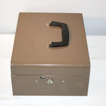 Vintage Metal Lock Box with Key, Industrial Storage, Home Office Organizer