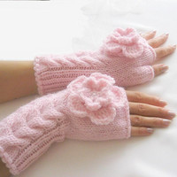 LIGHT PINK Fingerless Gloves, Wool Mittens, Arm Warmers with cable pattern and crochet flowers, eco friendly