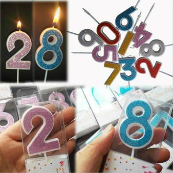 Number Birthday Candles 1 2 3 4 5 6 7 8 9 0 Party Supplies Decoration Cake Candles / 5 color choices