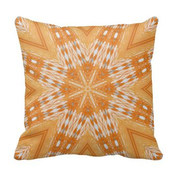 "Burnt Orange Native Pattern Throw Pillow 16"" x 16"""