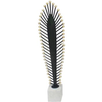 Decorative Metal Feather Sculpture On A Stand, Black And White