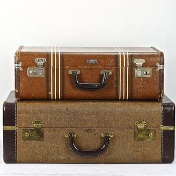 Suitcase Stack Of Two, Vintage Suitcases, Old Luggage Stack Of Two