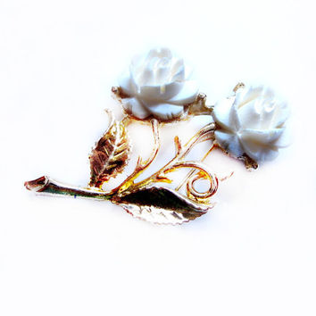 Vintage Carved Bone Ivory Flower Brooch, Gold Carved Rose Pin