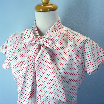 70s Heart Blouse Ascot Bow Tie Silky Top