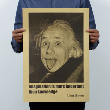 Albert Einstein Poster Vintage Imagination Is More Important Than Knowledge