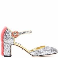 Mink fur-trimmed glitter pumps
