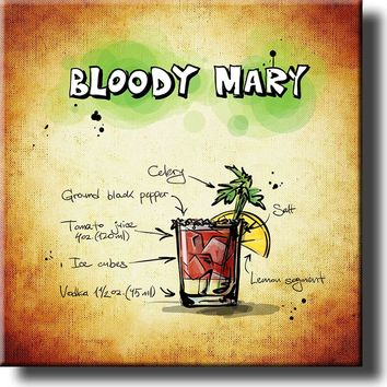 Bloody Mary Alcohol Drink Recipe Picture on Stretched Canvas, Wall Art Decor, Ready to Hang!