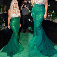 Women Mermaid Maxi Skirt Halloween Costume Cosplay Sexy Evening  Green Skirt   Fashion New 2016