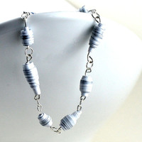 Handmade #makeforgood Paper Bead Bracelet White and Silver Striped Pastel Tones Recycled Jewellery