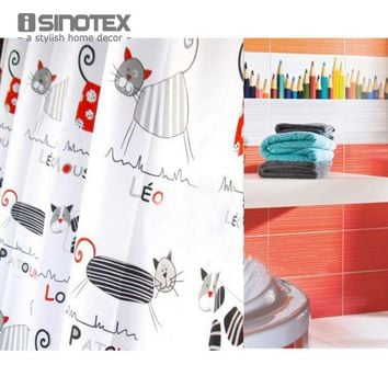 Shower Curtain Polyester Cloth Waterproof Moldproof Cartoon Tape Gutters Bathroom Curtain Cat 180cm*180cm 71*71'' With 12 Hooks