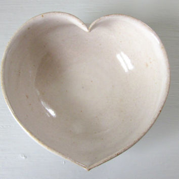 heart shaped cereal bowl - rustic white glaze - 5 1/4 inches