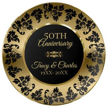 Gold And Black Damask 50th Anniversary Plate