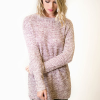 Wine Marbled Crew Neck Sweater
