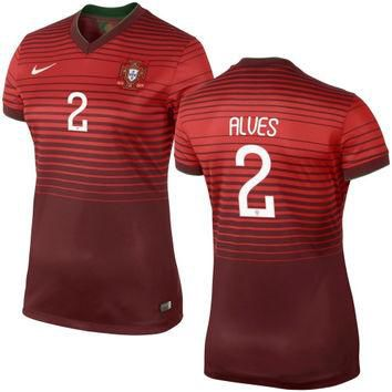 Alves #2 Portugal Nike Womens 2014 World Soccer Replica Home Jersey - Red