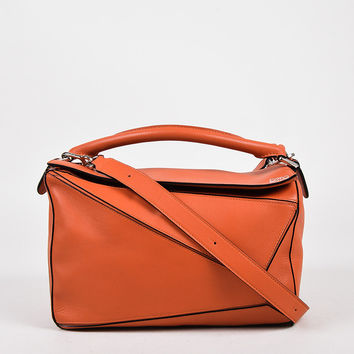 "Loewe Orange Leather Silver Tone Zip Small ""Puzzle"" Shoulder Bag,fashion handbags shell"