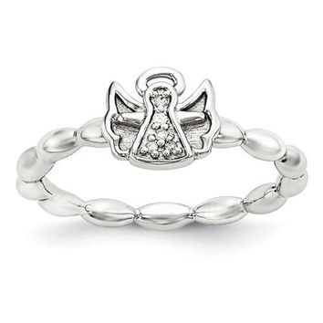 Sterling Silver Stackable Expressions Diamond Angel With Halo Ring